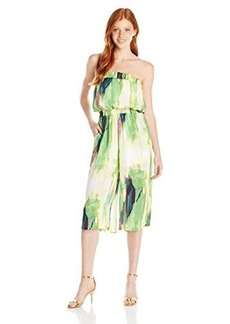 XOXO Junior's Strapless Tie Dye Printed Smocked Culotte Jumpsuit
