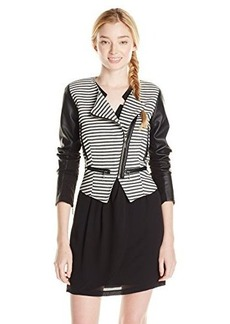 XOXO Juniors Stripe Jacket with Leather Sleevelesss