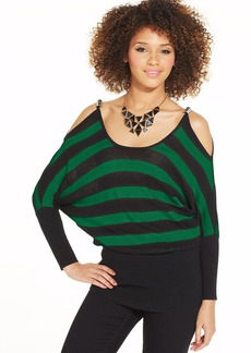 XOXO Juniors' Striped Dolman-Sleeve Top