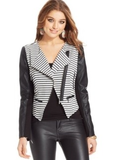 Xoxo Juniors' Striped Moto Jacket