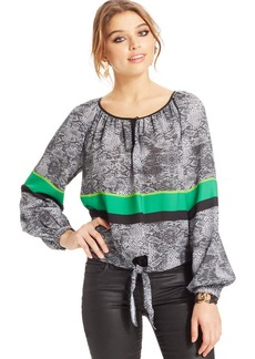XOXO Juniors' Striped Peasant Top