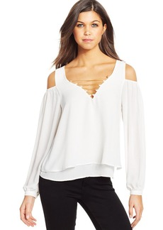 XOXO Juniors' Tiered Shoulder-Cutout Top
