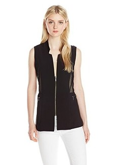 XOXO Junior's Zip Front Long Vest with Mesh Insert