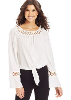 XOXO Lattice-Trim Tie-Front Top