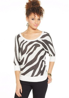 XOXO Metallic Zebra-Print Top