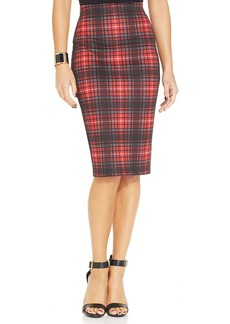 XOXO Plaid-Print Pencil Skirt