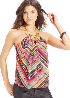 XOXO Printed Chain Halter Top