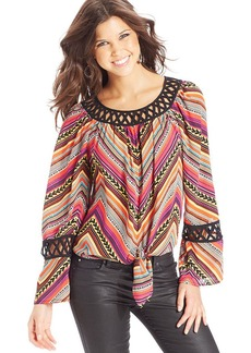 XOXO Printed Lattice-Trim Top
