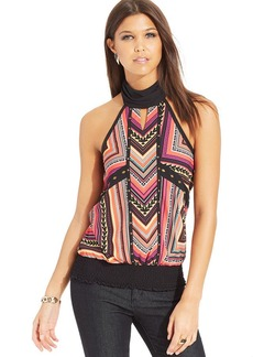 XOXO Printed Studded Halter Top