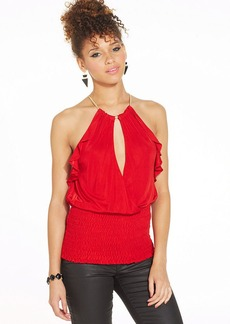 XOXO Ruffled Cutout Halter Top
