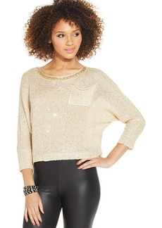 XOXO Juniors' Sequin Chain-Applique Sweater