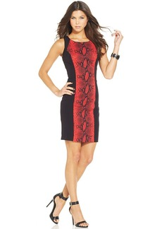 XOXO Snakeskin-Print-Panel Sheath Dress