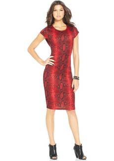 XOXO Snakeskin-Print Scuba Dress