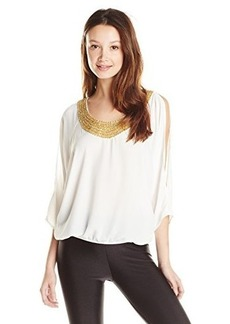 XOXO Women's Cold Shoulder Top with Neck Trim