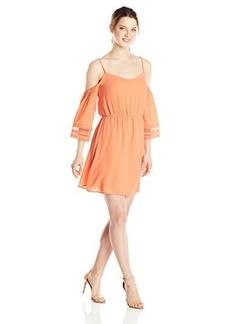 XOXO Women's Cold Shoulder Trimmed Sleeve Dress