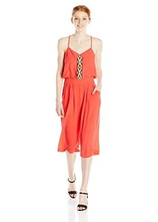 XOXO Women's Embroidered Front Jumpsuit