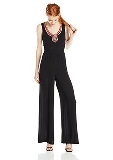 XOXO Women's Embroidered Neck Jumpsuit