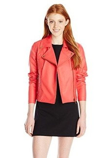 XOXO Women's Embroidered Pleather Moto Jacket