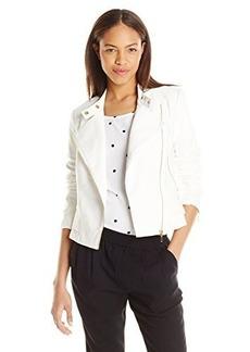 XOXO Women's Embroidered Shoulder Moto Jacket