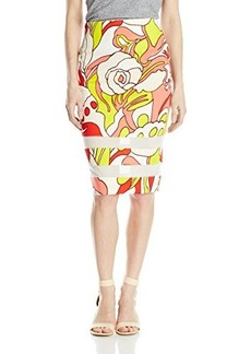 XOXO Women's Printed Scuba Pencil Skirt with Mesh Insets