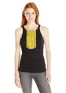 XOXO Women's Sleeveless Top with Necklace Trim