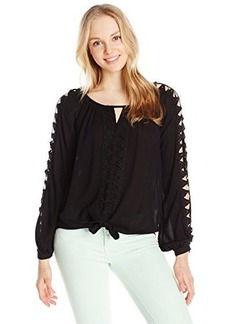 XOXO Women's Trimmed Tie Front Peasant Blouse