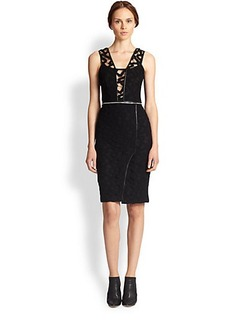 Yigal Azrouel Convertible Leather-Trim Mesh Dress