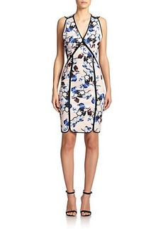 Yigal Azrouel Framed Orchid-Print Sheath