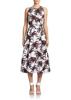 Yigal Azrouel Hawaiian Palm-Print Jacquard Dress