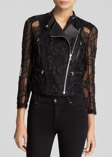 Yigal Azrouel Jacket - Embroidered Tulle Lace Cropped Moto