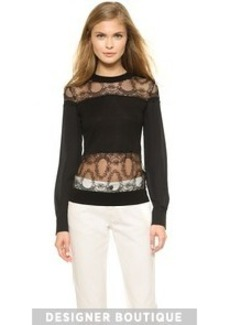 Yigal Azrouel Lace Blocked Pullover