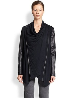 Yigal Azrouel Leather-Sleeve Jersey Cardigan