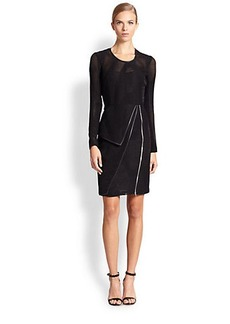 Yigal Azrouel Leather-Trimmed Liner Tulle Dress