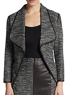 Yigal Azrouel Leather-Trimmed Metallic Tweed Jacket