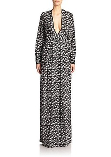 Yigal Azrouel Palm-Print V-Neck Gown
