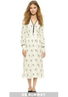 Yigal Azrouel Pintuck Palm Leaves Dress