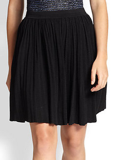 Yigal Azrouel Pleated Pointelle-Knit Skirt