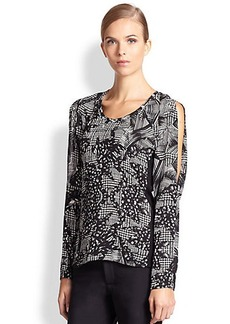 Yigal Azrouel Silk Graphic Print Top