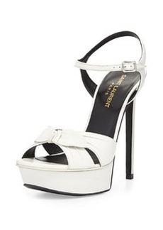 Bianca Leather Bow Sandal, Blanc Gris   Bianca Leather Bow Sandal, Blanc Gris