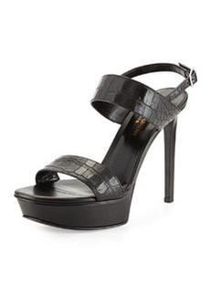 Crocodile-Embossed Platform Sandal, Noir   Crocodile-Embossed Platform Sandal, Noir