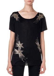 Embroidered Star Silk Tee   Embroidered Star Silk Tee