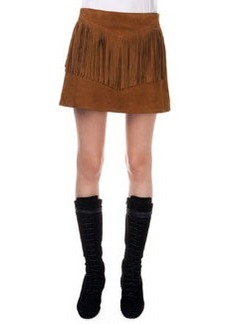 Fringed Suede A-Line Skirt   Fringed Suede A-Line Skirt
