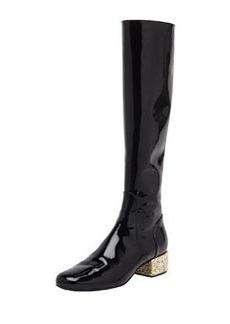 Glitter-Heel Patent Knee Boot, Noir/New Platine   Glitter-Heel Patent Knee Boot, Noir/New Platine