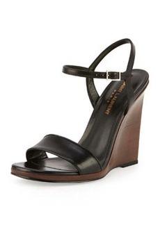 Jane Wooden Wedge Sandal, Noir   Jane Wooden Wedge Sandal, Noir