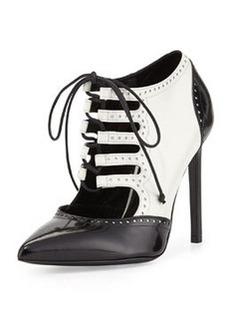 Lace-Up Saddle Pump, White/Black   Lace-Up Saddle Pump, White/Black
