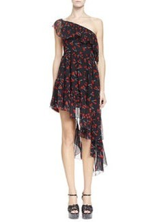 One-Shoulder Cherry-Print Silk Dress   One-Shoulder Cherry-Print Silk Dress