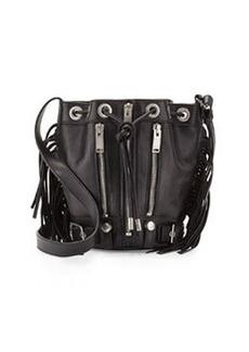 Rider Small Fringe Bucket Crossbody Bag, Black   Rider Small Fringe Bucket Crossbody Bag, Black