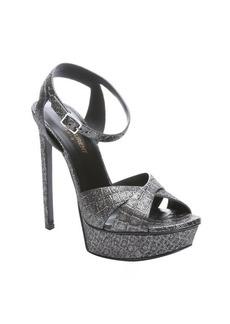 Saint Laurent anthracite crocodile embossed leather platform sandals