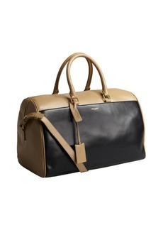 Saint Laurent beige and black leather colorblock convertible satchel
