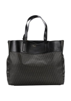 Saint Laurent black and brown coated canvas top handle tote